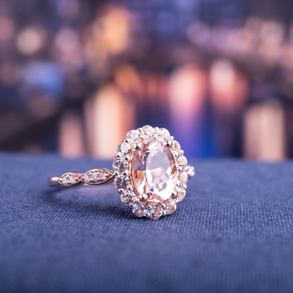 Miadora 14k Rose Gold Morganite and White Topaz and Diamond Halo Ring. Opens flyout.