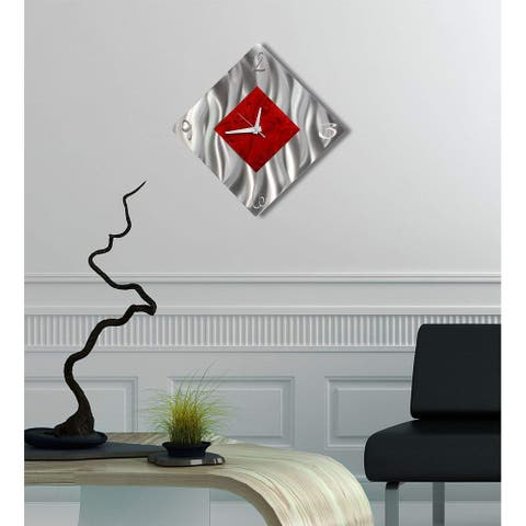"Statements2000 Metal Wall Clock Modern Art by Jon Allen - 17"" x 17"" displayed as a diamond"