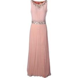 Nicole Miller Womens Silk Beaded Evening Dress - 4