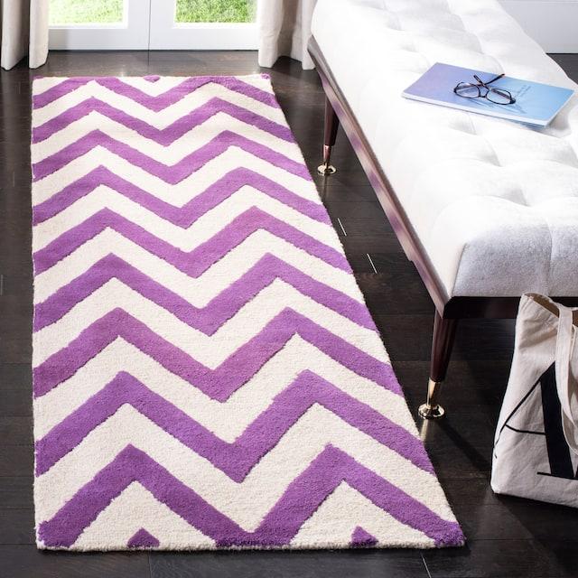 """SAFAVIEH Handmade Cambridge Rinda Modern Moroccan Wool Rug - 2'6"""" x 12' Runner - Purple/Ivory"""
