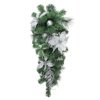 """32"""" Silver Poinsettia and Pinecone Artificial Christmas Teardrop Swag - Unlit - green"""