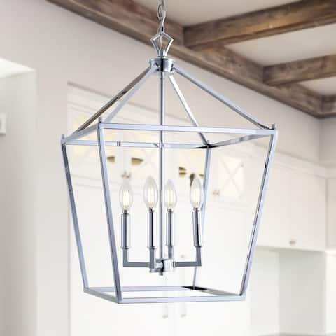 "Pagoda 16"" 4-Bulb Lantern Metal LED Pendant, Chrome by JONATHAN Y"
