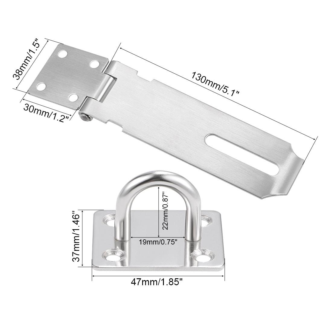 304 Stainless Steel Padlock Vertical Locking Hasp And Staple Door Cabinet Lock
