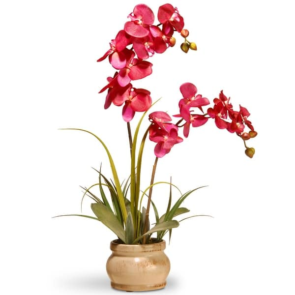 Shop 24 Potted Artificial Pink Orchid Flower Overstock 25767576