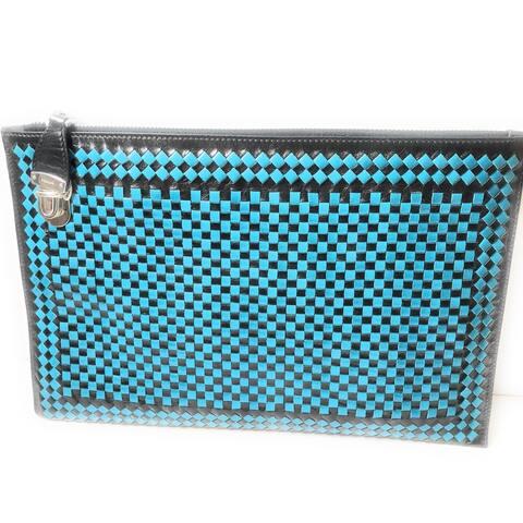 Prada Women's Blue Black Madras Woven Leather Clutch Handbag BP8681