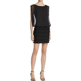 Aidan by Aidan Mattox Womens Cocktail Dress Fringe Suede