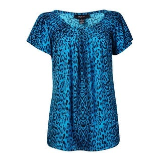 Style & Co Women's Leopard Print Pleat Neck Blouse