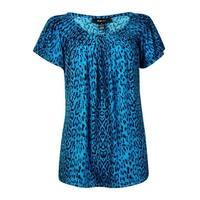 Style & Co Women's Leopard Print Pleat Neck Blouse