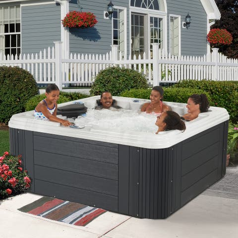 Essential Hot Tubs Monterey 72-Jet Lounger Spa in Grey - 85X85X36