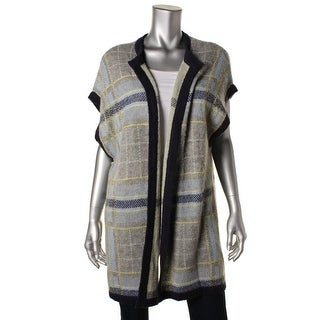 Two by Vince Camuto Womens Mohair Blend Plaid Cardigan Sweater