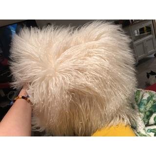 Wool Mongolian Lamb Fur Decorative Throw Pillow