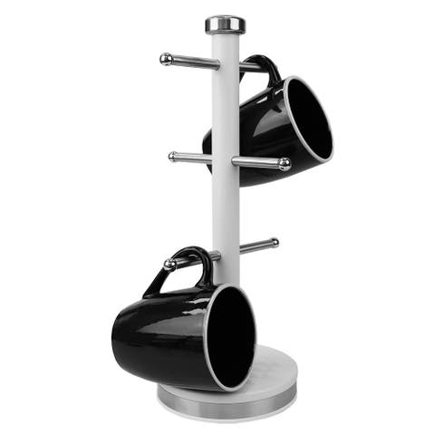 Michael Graves Design Soho 6 Hook Mug Tree with Rounded Ends, White