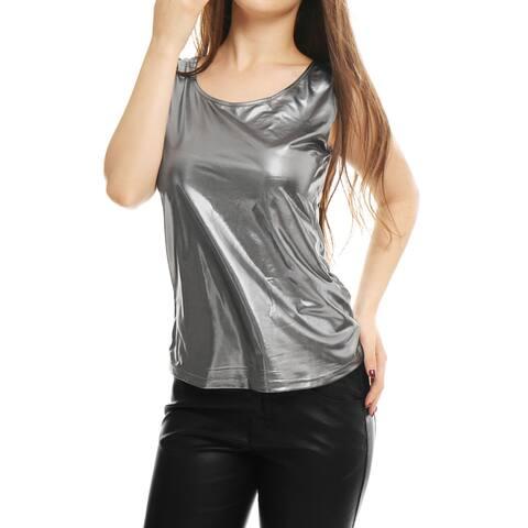 Woman U Neck Stretchy Slim Fit Metallic Tank Top