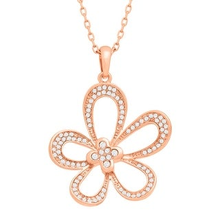 Marie Claire Concave Flower Pendant with Swarovski Crystals in 14K Rose Gold-Plated Alloy - White