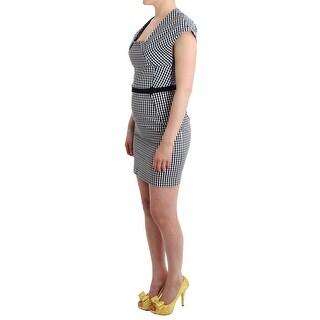 GF Ferre GF Ferre Black White Checkered Belted Sheath Dress