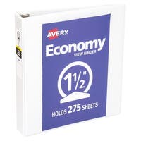 Avery Economy View Round Ring Binders for 8-1/2 x 11 Inch paper, 275 Sheet Capacity, 1-1/2 Inches, White