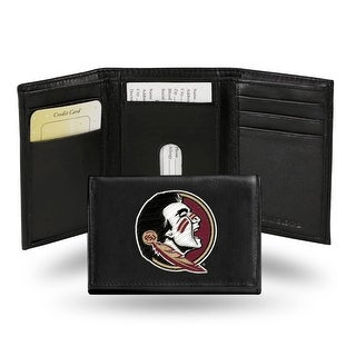 4 Black And Red College Florida State Seminoles Embroidered Trifold Wallet N A