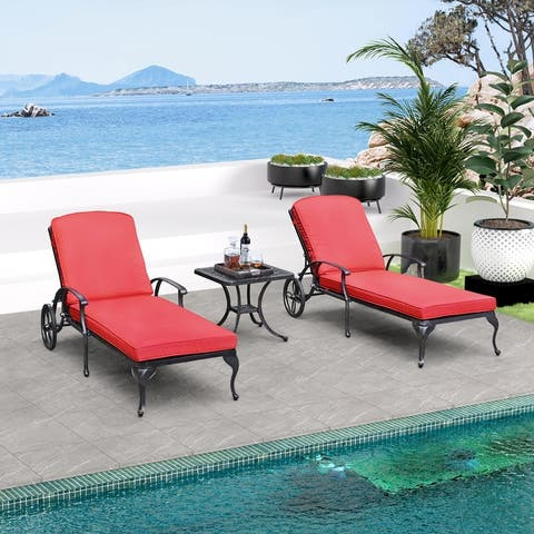 Adjustable Steel Outdoor 3-piece Chaise Lounge and Side Table Set