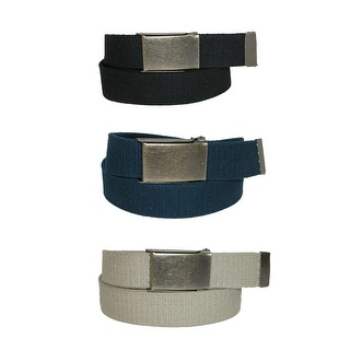 CTM® Men's Big & Tall Belt with Flip Top Brass Buckle (Pack of 3) - One Size