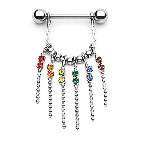 "Surgical Steel Gay Pride Nipple Shield with Gem and Chain Dangle - 14GA 5/8"" Long (Sold Individually)"