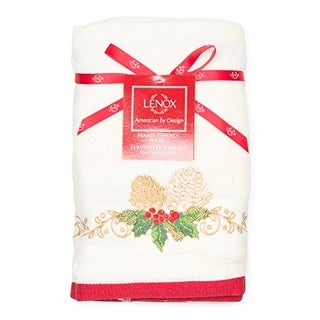 Lenox Holiday Hand Towel Set Of 2 - Pinecone- Style 7986