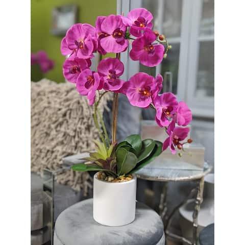 """Magenta Orchid Flower Arrangement in White Cylinder Pot 23""""L x 28""""H - 12X23X28"""