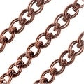 Antiqued Copper Plated Bulk Chain, 7.5x6.5mm Parallel Curb Links with Rolo Accent, Sold By The Foot - Thumbnail 0
