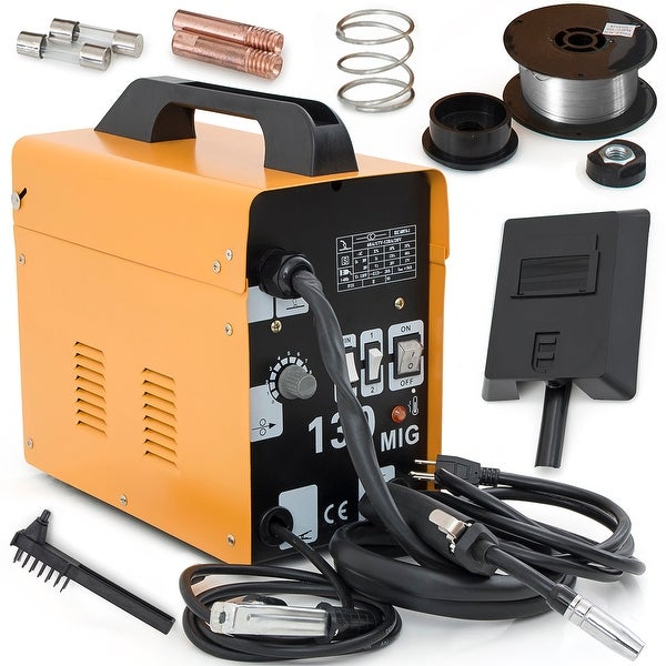 Arksen MIG-130 Gas-Less Flux Core Wire Welder Welding Machine Automatic Feed Kit, Yellow