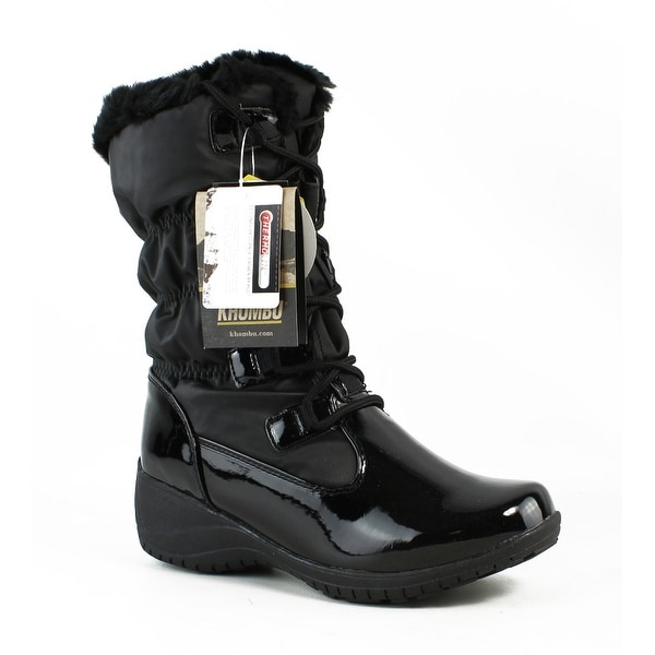 Black Patent Combo Snow Boots Size