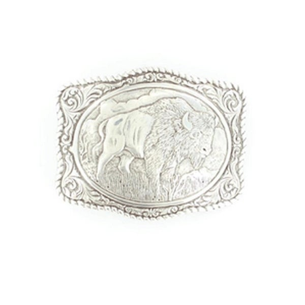 Crumrine Western Belt Buckle Rectangle Bisson Rope Trim Silver - 2 3/4 x 3 1/2