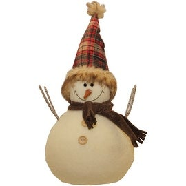 Snowman with Red and Black Plaid Hat Christmas Tabletop Decoration