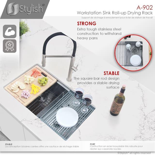 Workstation Roll-Up Dish Drying Rack - Dark Grey