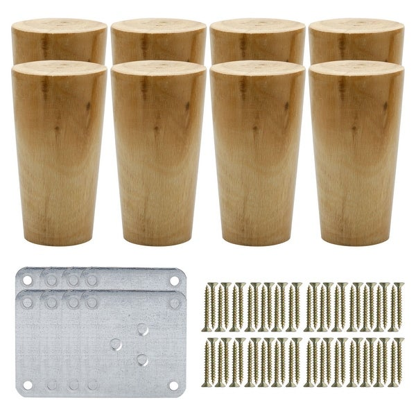 4 Round Solid Wood Furniture Leg Chair Sofa Cabinet Feet Replacement Set