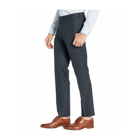 KENNETH COLE Mens Gray Flat Front Plaid Slim Fit Stretch Pants 36W/ 32L - 36W/ 32L