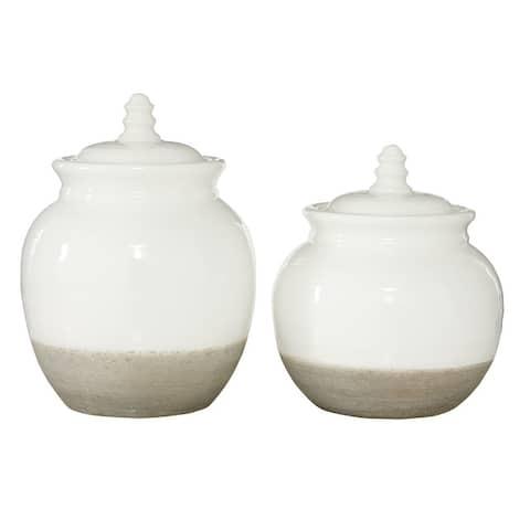 "Large Round Vintage Beige and White Ceramic Jars w Lids Set of 2 8"" 7"" - 7 x 7 x 10"