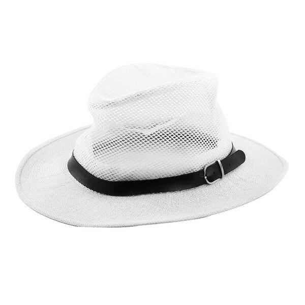 Men Summer Outdoor Linen Wide Brim Beach Mesh Cap Net Sunhat Cowboy Hat  White 9e3d88320c4