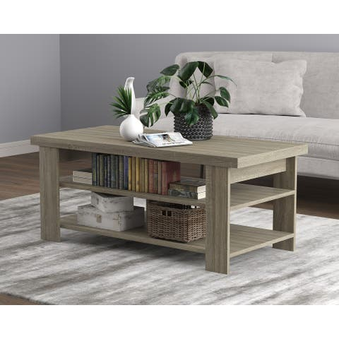 Coffee Table 41.25L Dark Taupe 3 Shelves - 41'5 x 19'5' x 17'