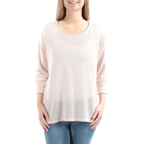 ALFANI Womens Pink Short Sleeve Jewel Neck Sweater Size M