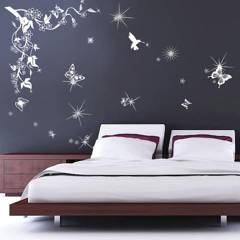 Walplus Butterflies Vine Swarovski Wall Sticker Wall Decal Home Décor