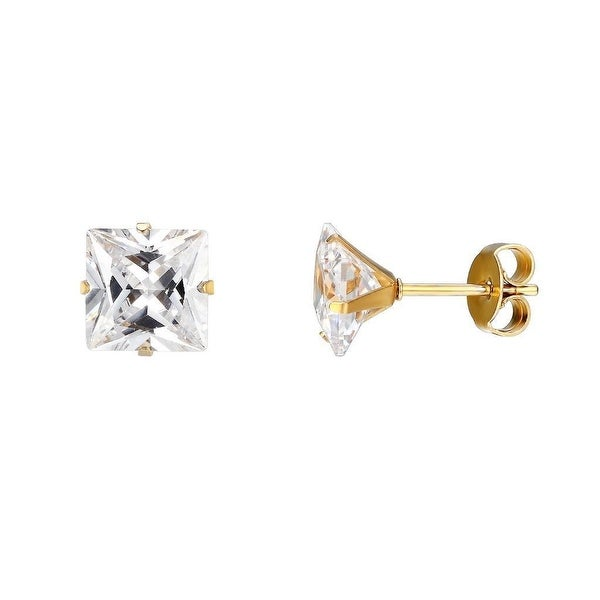 Custom Made Gold Finish Solitaire Earrings Stainless Steel Princess Cut Cubic Zirconia 8mm