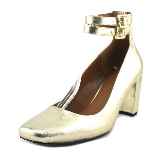 Halston Regina Women Square Toe Leather Gold Heels