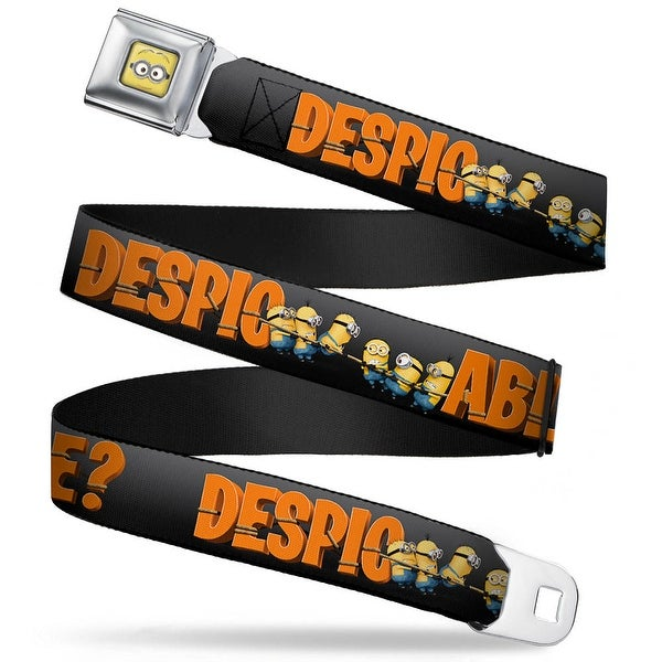 Minion Dave Face Close Up Full Color Minions Pulling Despicable? Gray Seatbelt Belt