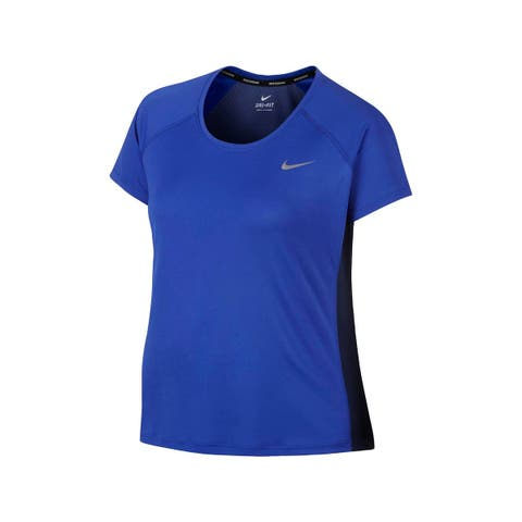 Nike Womens Plus Miler Pullover Top Mesh Inset Running