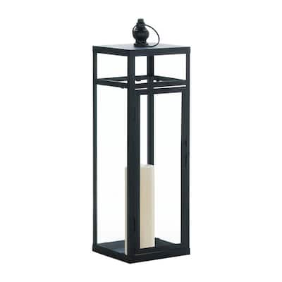 Black Dramatic Geometry Candle Lantern
