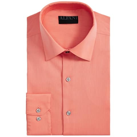 Alfani Mens Dress Shirt Orange Size XL 17-17 1/2 Pinstripe Button Down