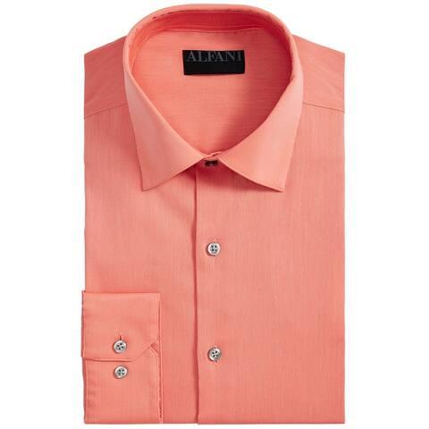 Alfani Mens Dress Shirt Sorbet Orange Size XL Non-Wrinkle Stretch