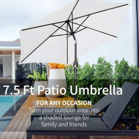Zenova 7.5FT Solar Patio Umbrella Adjustable