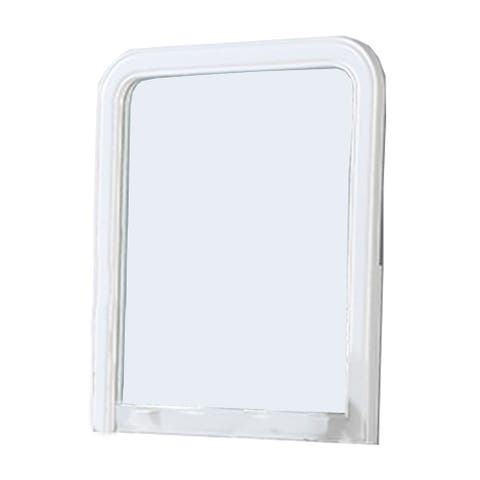 37 Inches Wooden Mirror with Curved Edges, White