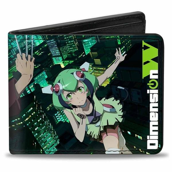 Dimension W Mira + Kyouma Poses Skyline Black Blues Greens Bi Fold Wallet - One Size Fits most