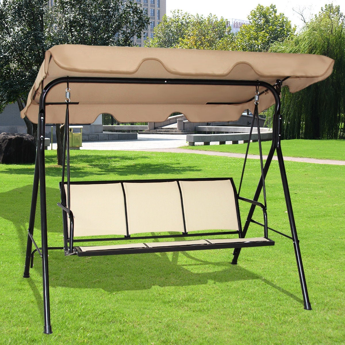 Costway 3 Person Outdoor Patio Swing Canopy Awning Yard Furniture Hammock Steel Beige